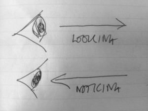 Drawing of how we look or notice